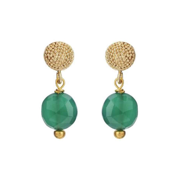 Gold Talia Stud Earrings with Green Onyx - Lulu B Jewellery