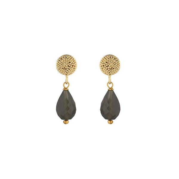 Gold Talia Stud Earrings with Grey Moonstone - Lulu B Jewellery