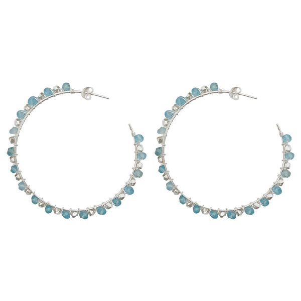 Silver Tilly Hoop Earrings with Aquamarine - Lulu B Jewellery