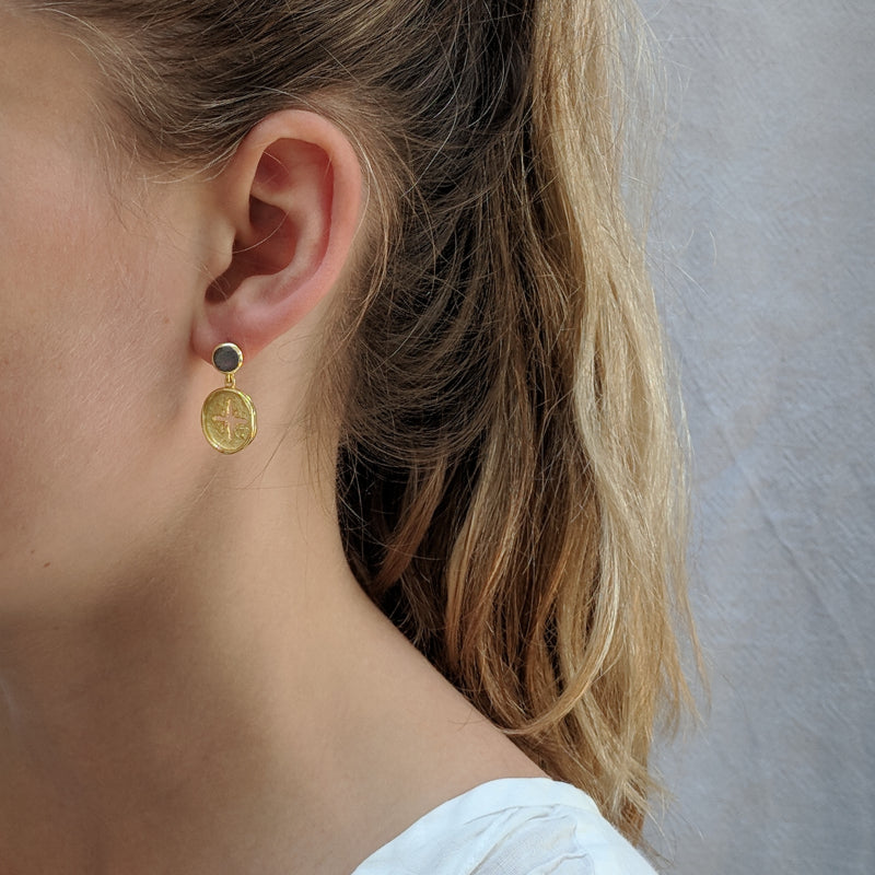 Gold Canterbury Drop Studs with Labradorite - Lulu B Jewellery