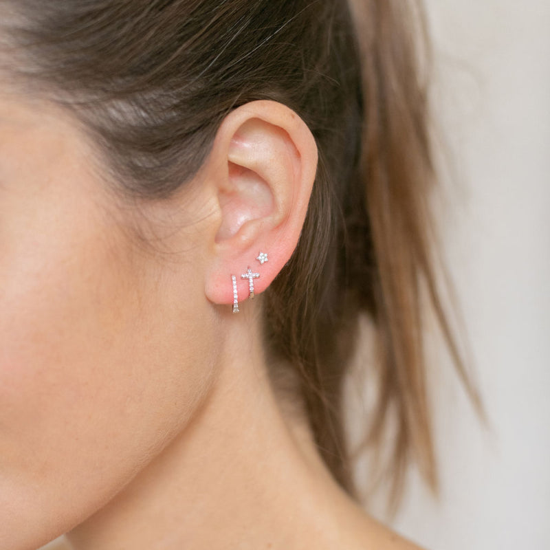Gold Berkeley Hoop Earrings with Cubic Zirconia - Lulu B Jewellery