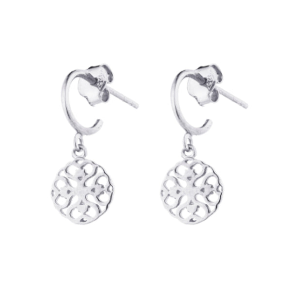 Silver Finsbury Drop Hoops - Lulu B Jewellery