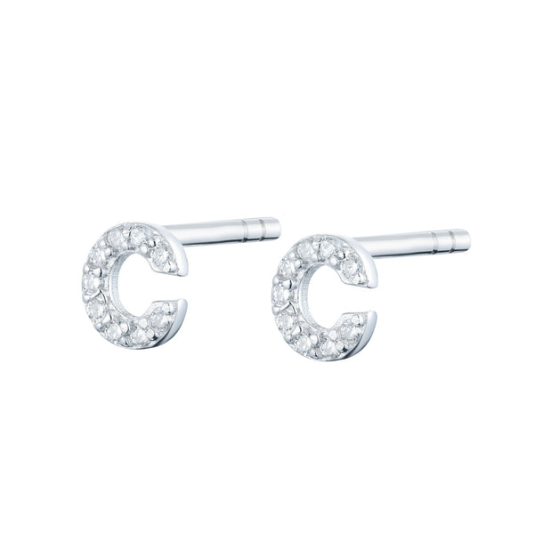 Silver Initial Stud Earrings with Cubic Zirconia - Lulu B Jewellery