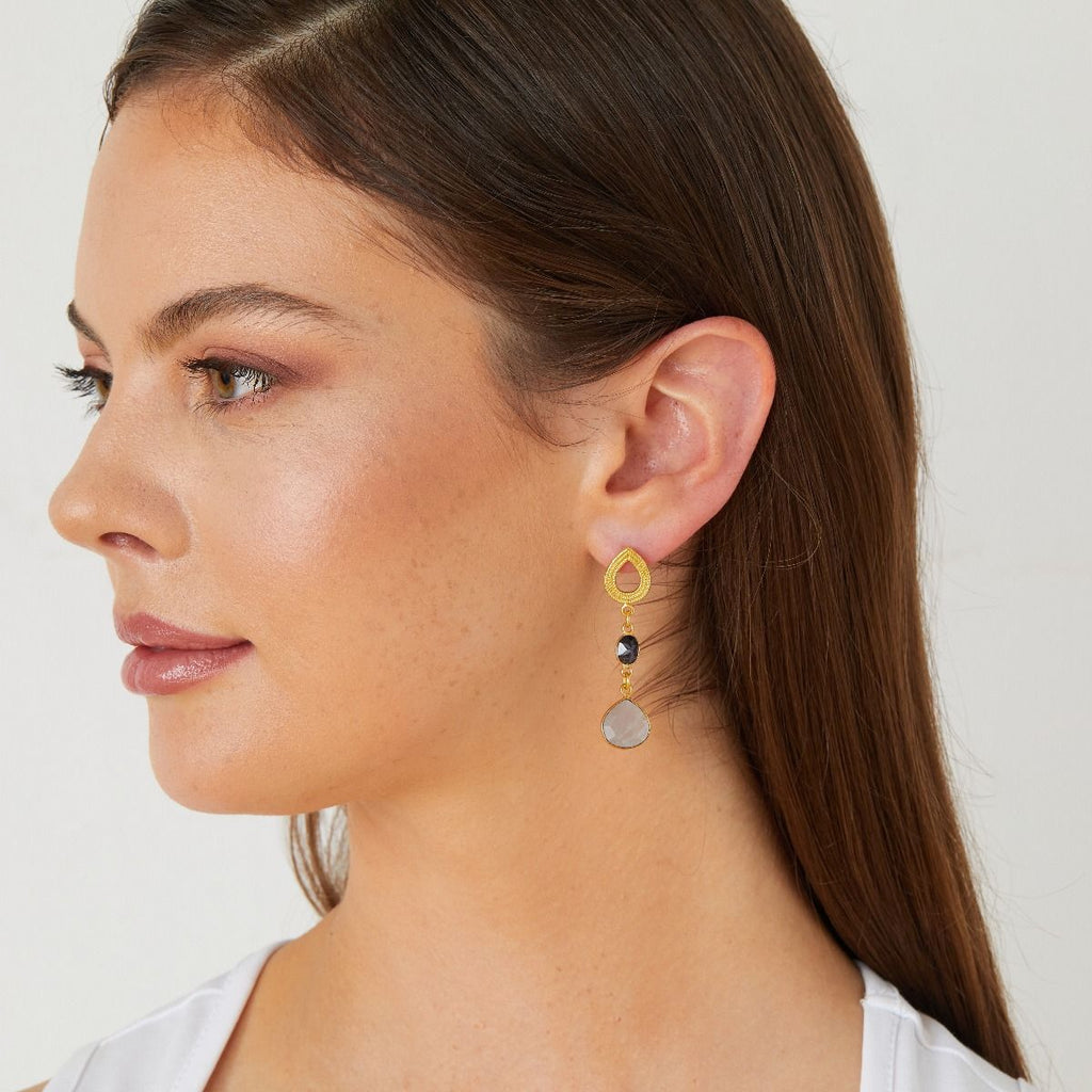 Gold Georgia Stud Drop Earrings with Navy Sunstone and Grey Moonstone - Lulu B Jewellery
