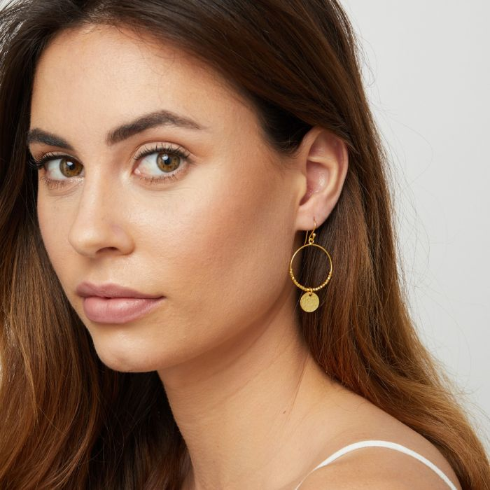 Gold Hartley Drop Hoop Earrings - Lulu B Jewellery