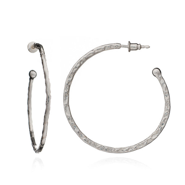 Silver Harley Hoop Earrings - Lulu B Jewellery