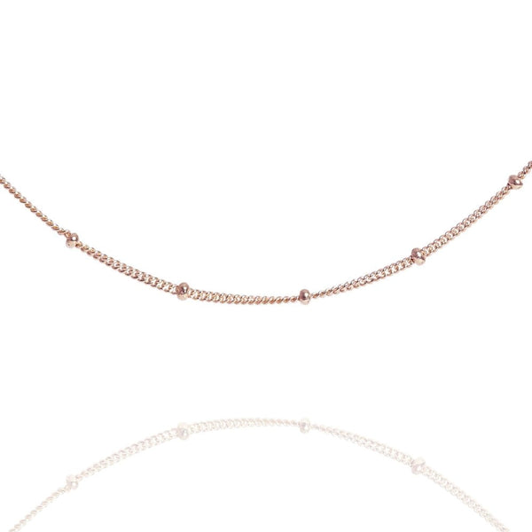 "Rose Gold Beaded 14"" Chain Choker Necklace - Lulu B Jewellery"