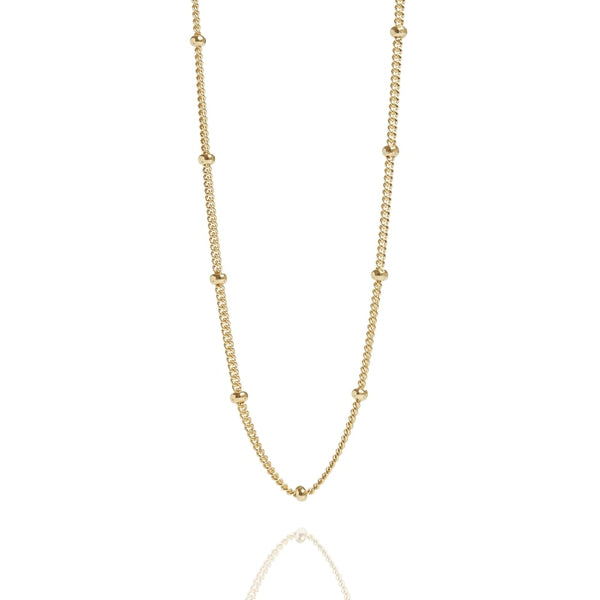 "Gold Beaded 16"" Chain Necklace - Lulu B Jewellery"