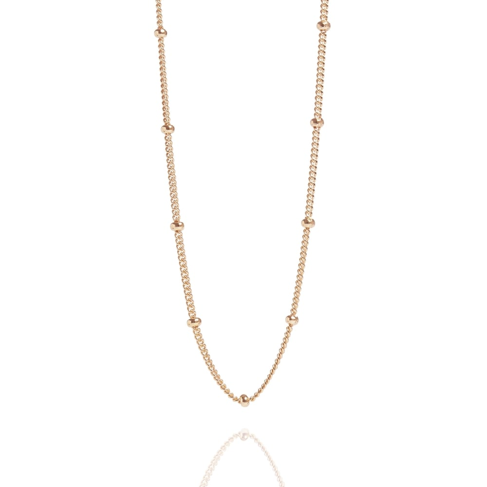 "Rose Gold Beaded 16"" Chain Necklace - Lulu B Jewellery"