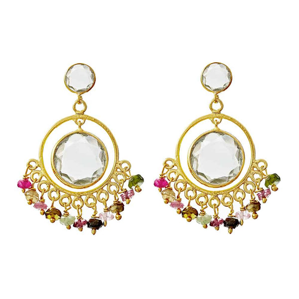Gold Carnaby Drop Studs with Tourmaline Stones - Lulu B Jewellery