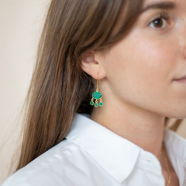 Gold Amber Drop Earrings with Green Onyx - Lulu B Jewellery