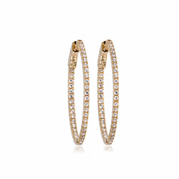 Gold Grace Hoop Earrings with Cubic Zirconia - Lulu B Jewellery