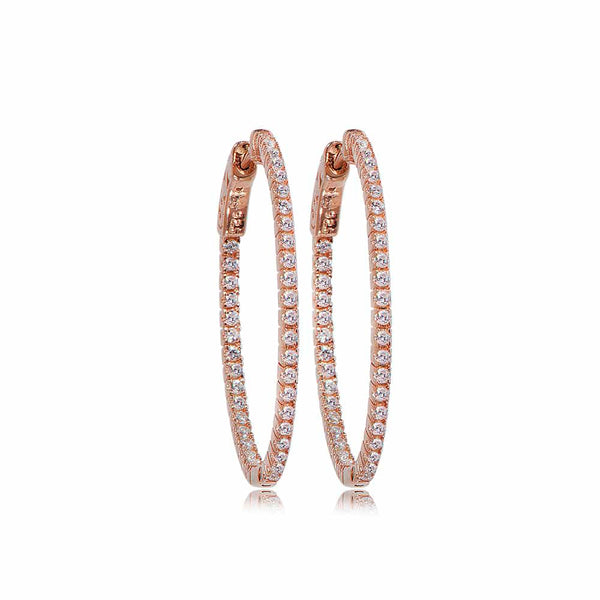 Rose Gold Grace Hoop Earrings with Cubic Zirconia - Lulu B Jewellery