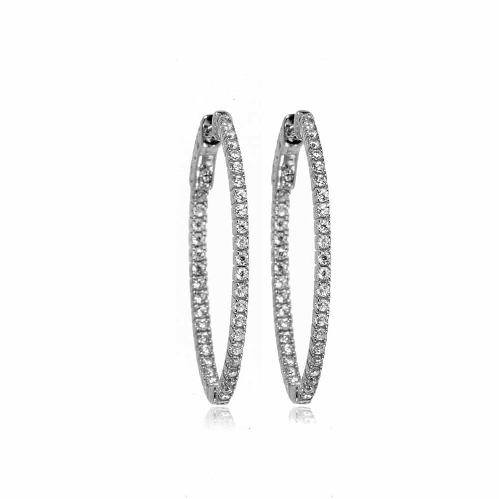Silver Grace Hoop Earrings with Cubic Zirconia - Lulu B Jewellery