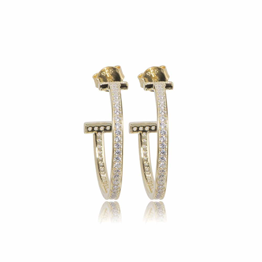 Gold Belgravia Hoop Earrings with Cubic Zirconia - Lulu B Jewellery