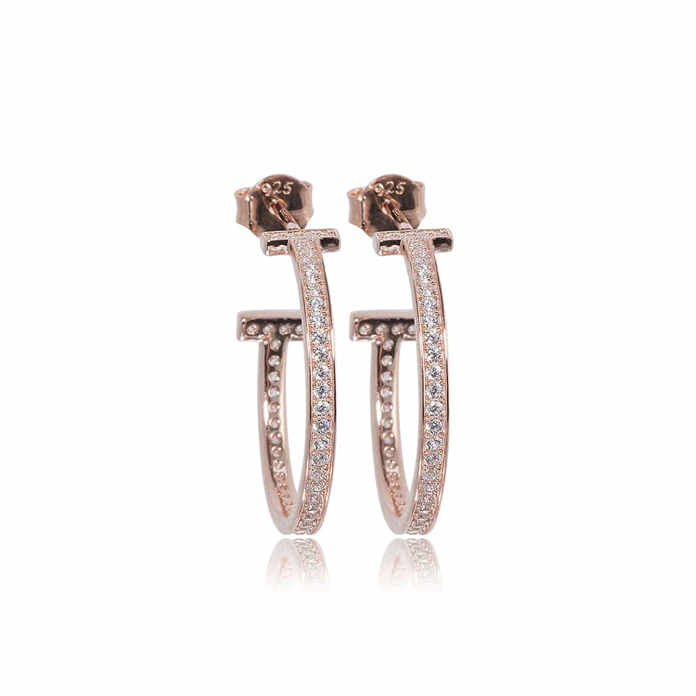 Rose Gold Belgravia Hoop Earrings with Cubic Zirconia - Lulu B Jewellery