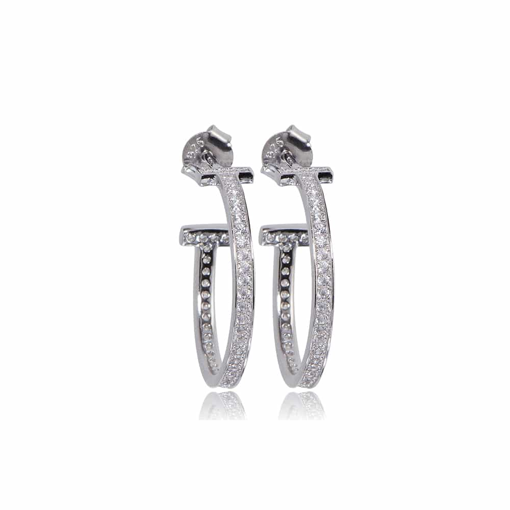 Silver Belgravia Hoop Earrings with Cubic Zirconia - Lulu B Jewellery