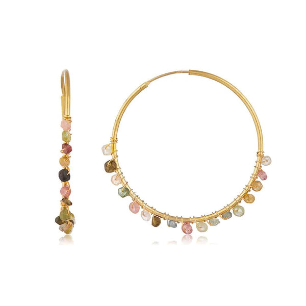 Gold Willow Hoop Earrings with Tourmaline - Lulu B Jewellery