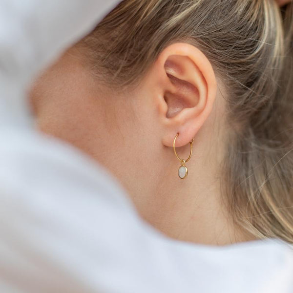Gold Holloway Hoop Earrings with Moonstone - Lulu B Jewellery