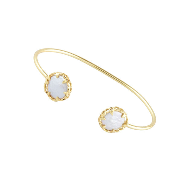 Gold Margot Bangle with Mother of Pearl - Lulu B Jewellery