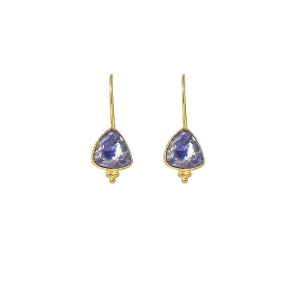 Gold Ana Drop Earrings with Lapis Lazuli - Lulu B Jewellery