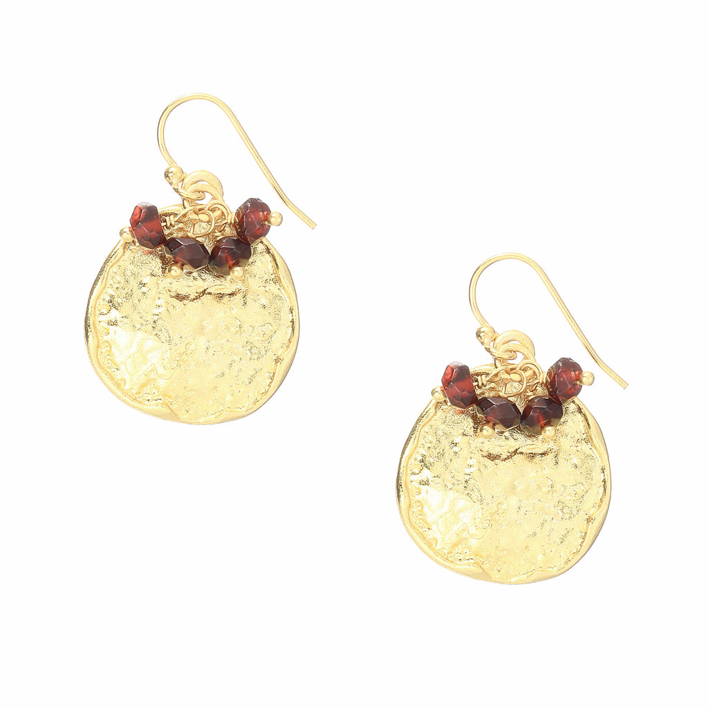 Gold Cleo Drop Earrings with Berry Agate - Lulu B Jewellery