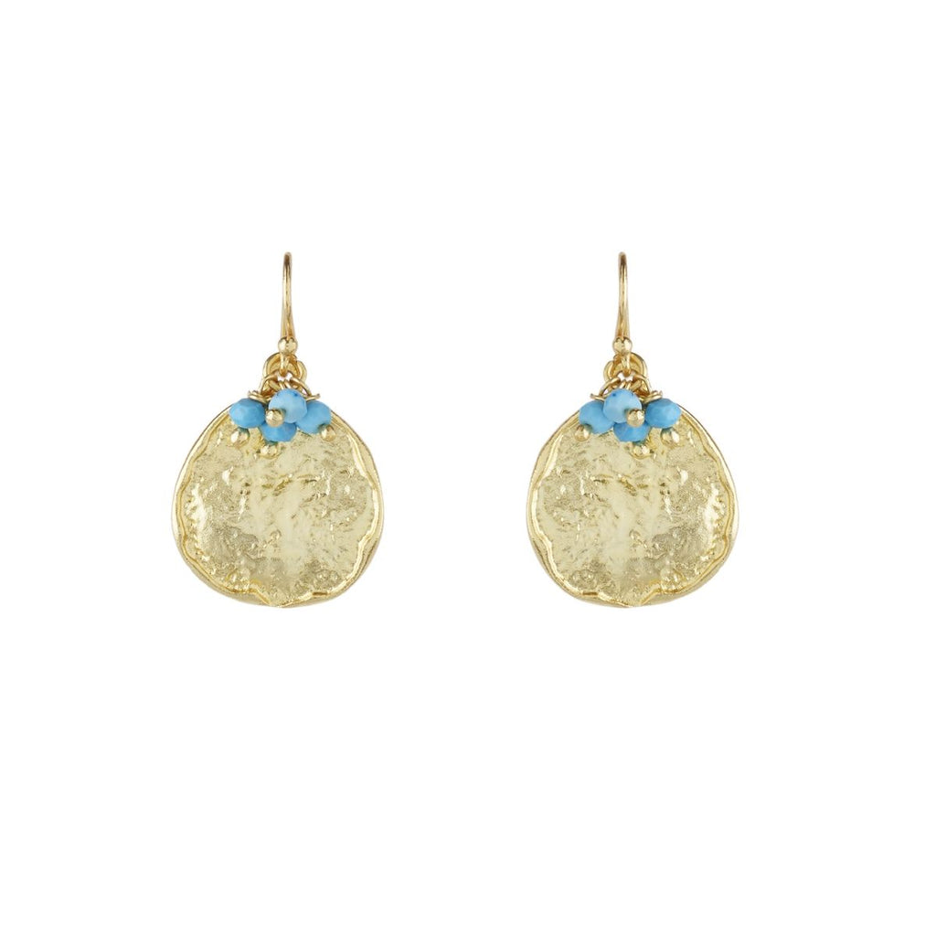 Gold Cleo Drop Earrings with Turquoise - Lulu B Jewellery
