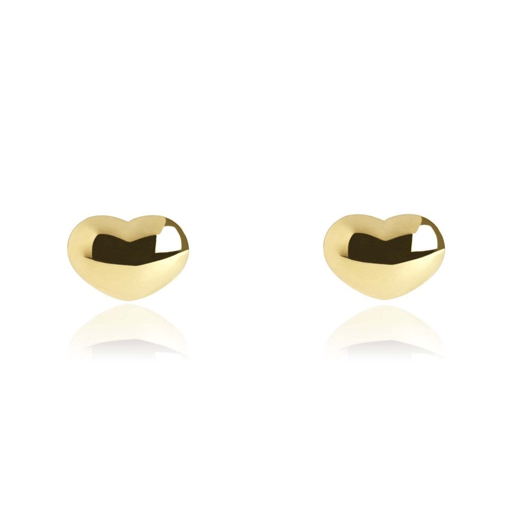 Gold Heart Stud Earrings - Lulu B Jewellery