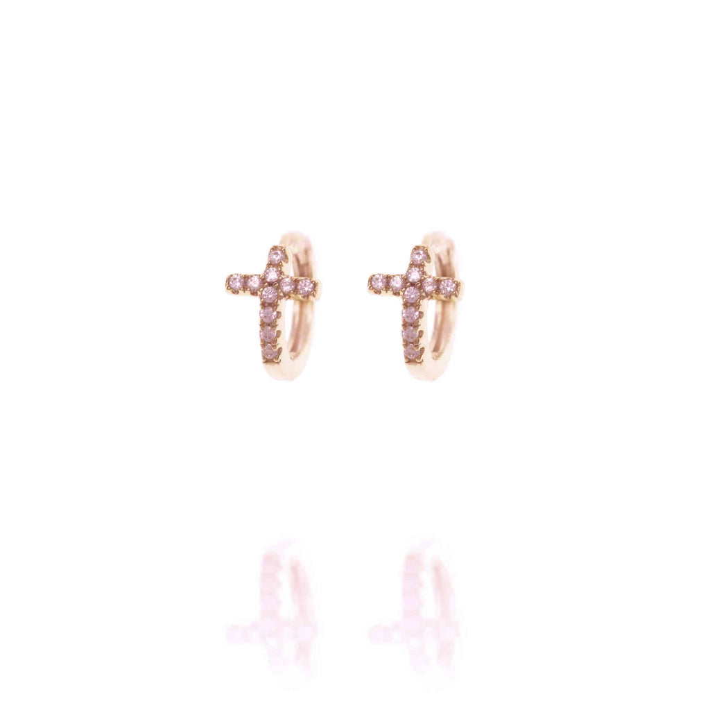 Rose Gold Huggie Hoops with Cross - Lulu B Jewellery
