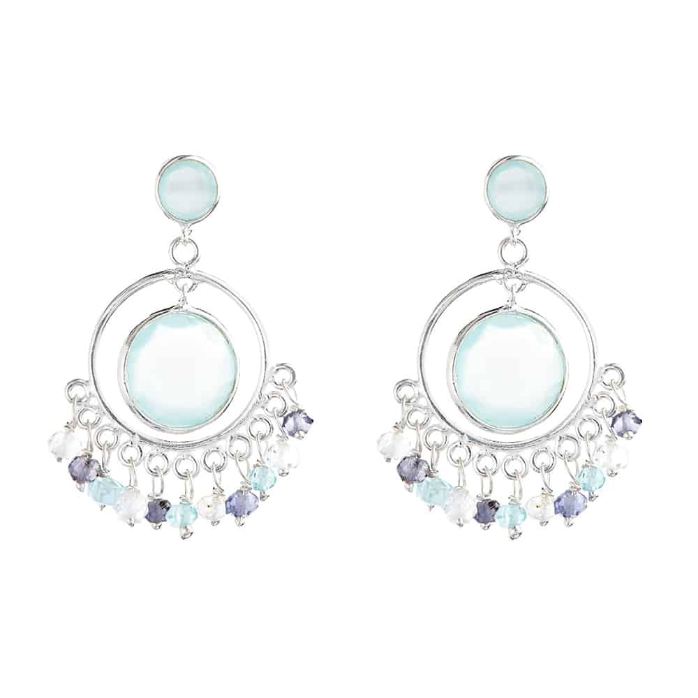 Silver Carnaby Drop Studs with Aqua Stones - Lulu B Jewellery