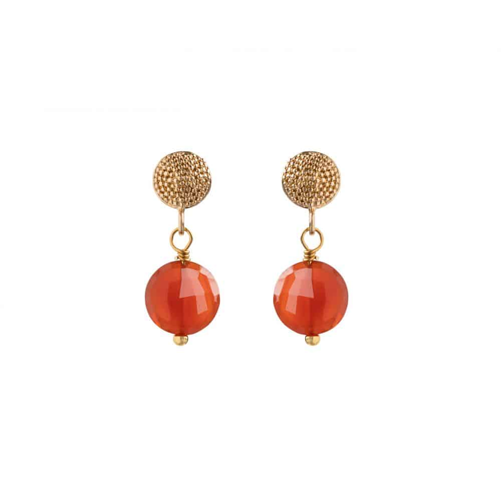 Gold Talia Stud Earrings with Carnelian - Lulu B Jewellery