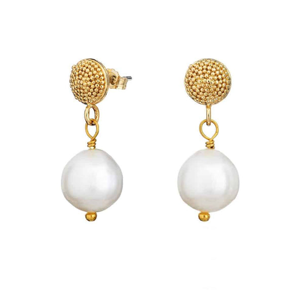 Gold Talia Stud Earrings with Pearl - Lulu B Jewellery