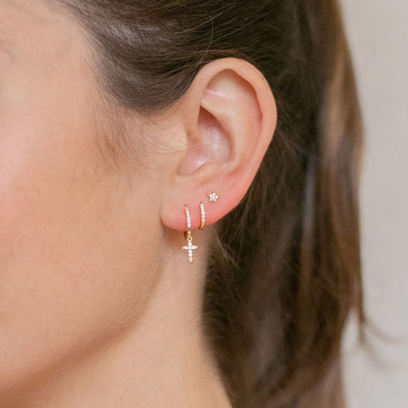 Gold Berkeley Hoop Earrings with Hanging Cross - Lulu B Jewellery