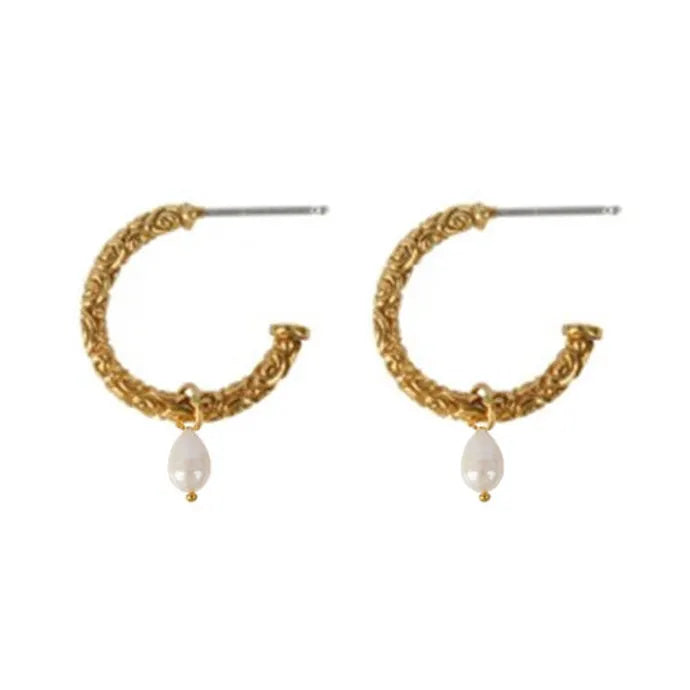 Gold Holborn Hoops with Pearl - Lulu B Jewellery