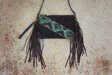 Load image into Gallery viewer, Black Hair on Hide Leather Fringe & Navajo Handbag/Crossbody