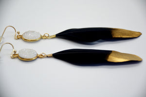 Black Feather with White Druzy Stone Earrings