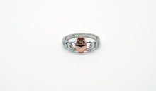 Load image into Gallery viewer, Sterling Silver Claddagh Rose Ring