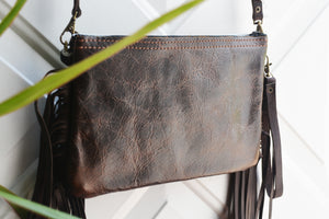 Black Hair on Hide Leather Fringe & Navajo Handbag/Crossbody