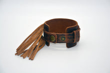 Load image into Gallery viewer, Tan Leather Metallic Fringe Cuff
