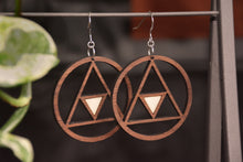 Load image into Gallery viewer, Geometric Hoops with Moonstone