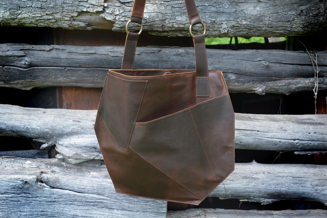 Brown Leather Geo Tote