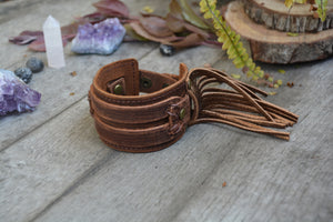 Tan Leather Metallic Fringe Cuff