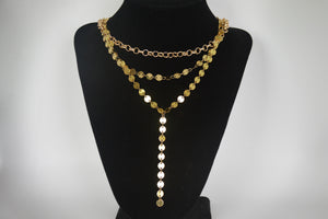 Long Gold Coin Chain Necklace