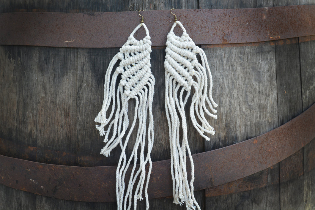 Large Wings Macrame Earrings