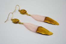 Load image into Gallery viewer, Pink Feather with Gold Druzy Stone Earrings