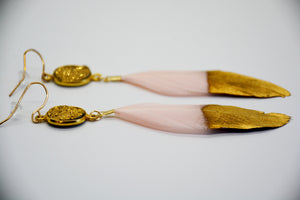 Pink Feather with Gold Druzy Stone Earrings
