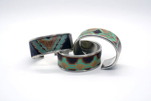 Turquoise Navajo Leather on Narrow Cuff Bangle Bracelet