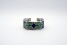 Load image into Gallery viewer, Turquoise Navajo Leather on Narrow Cuff Bangle Bracelet
