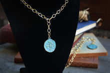 Load image into Gallery viewer, Turquoise Coin Pendant Necklace