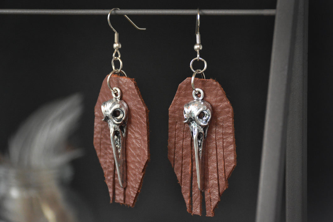 Voodoo Bird Skull Earrings